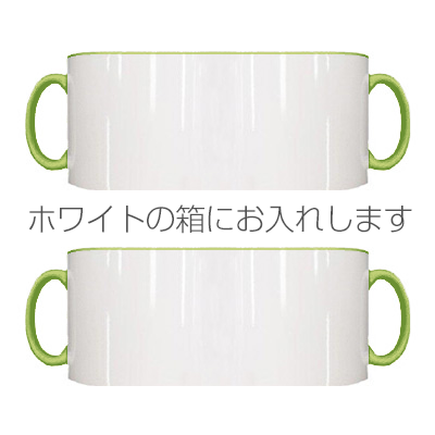 2トーン ペアマグカップ ホワイトギフトボックス(ライトグリーン)
