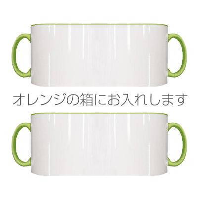 2トーン ペアマグカップ オレンジギフトボックス(ライトグリーン)