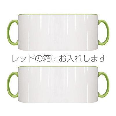 2トーン ペアマグカップ レッドギフトボックス(ライトグリーン)