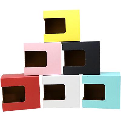 包装オプション:四角窓付きカラーボックス(全6色)
