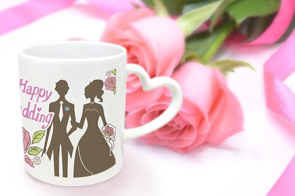 結婚式のお祝い品としてかわいらしいマグカップはいかがですか?