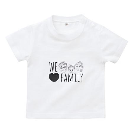 家族の手書きイラストをプリントしたベビーTシャツ