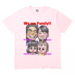 家族の似顔絵をプリントしたオリジナルTシャツ