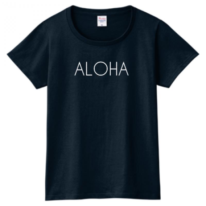 シンプル&クールなALOHAロゴプリントTシャツ
