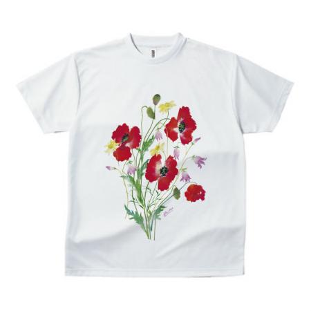 コスモスのイラストをプリントしたTシャツ