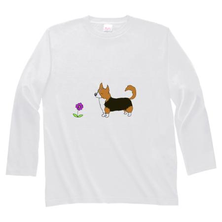 ほほえましい犬のイラストの長袖Tシャツ