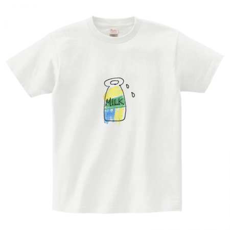 手描きイラストの牛乳瓶をプリントしたオリジナルTシャツ