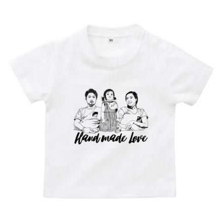 家族イラストがのオリジナルべビーTシャツ