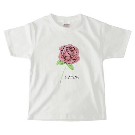 お洒落な薔薇イラストのオリジナルキッズTシャツ