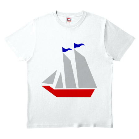 レトロ感のあるお洒落なヨットデザインのオリジナル白Tシャツ