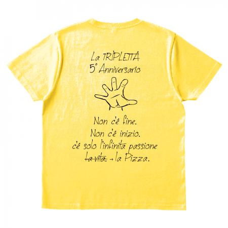 5周年記念に、イタリア料理店のオリジナルTシャツ