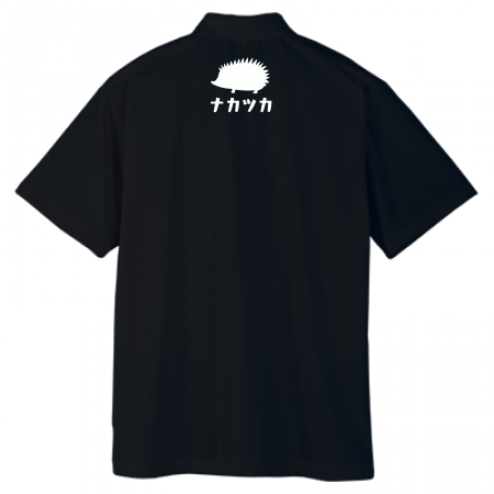 襟下にワンポイントデザインオリジナルポロシャツ