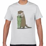 カワウソとカエルのイラストのオリジナルTシャツ