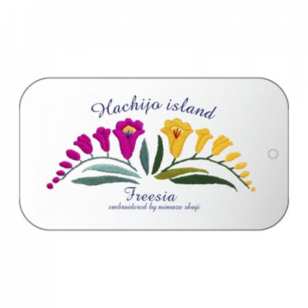 八丈島の花のイラストをプリントしたスライドケース