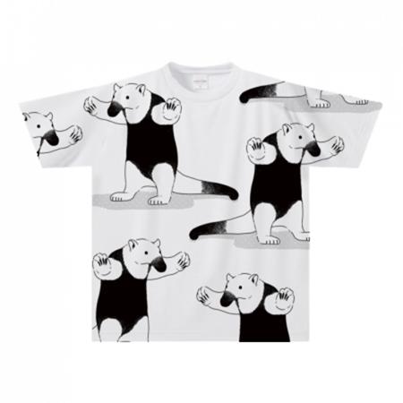 アリクイイラストの全面プリントTシャツ