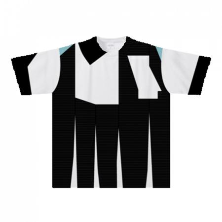 モノクロデザインの全面プリントTシャツ