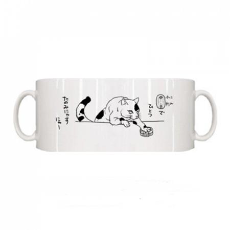 猫が小判を差し出すかわいいイラストのマグカップ