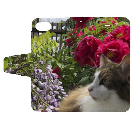 お花とにゃんこ写真のオリジナル手帳型ケース