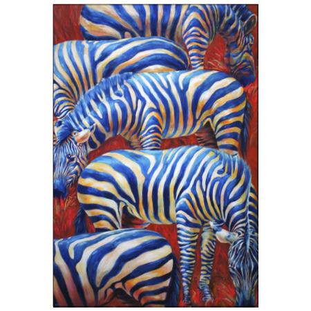 鮮やかな色合いが印象的なしまうまイラストのオリジナルポストカード