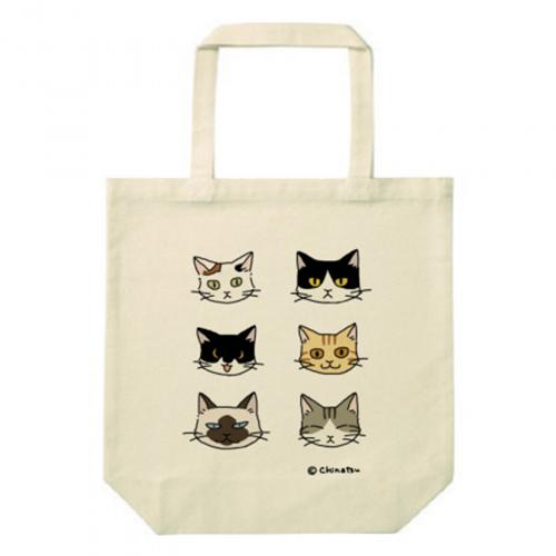 キュートな猫イラストプリントのトートバッグ