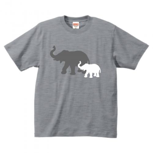 象のイラストプリントTシャツ