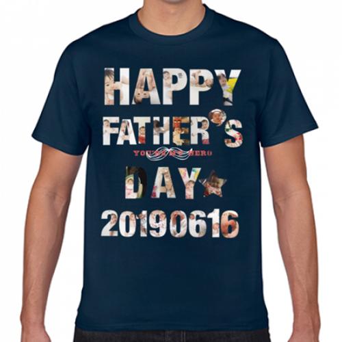 写真をメッセージの形にプリントした父の日のオリジナルTシャツ