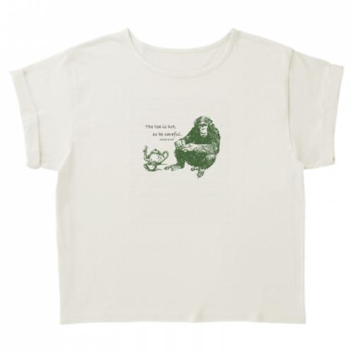 リアルタッチの猿イラストが印象的なTシャツ