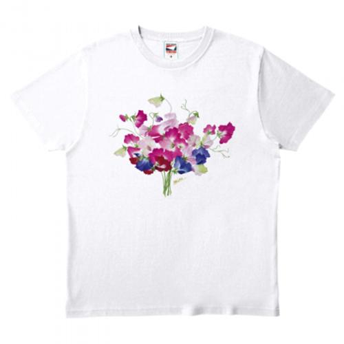 スミレのイラストをプリントしたTシャツ