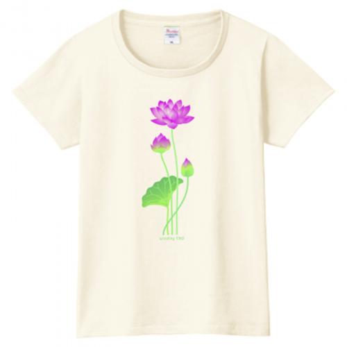 蓮の花のイラストプリントが美しいTシャツ