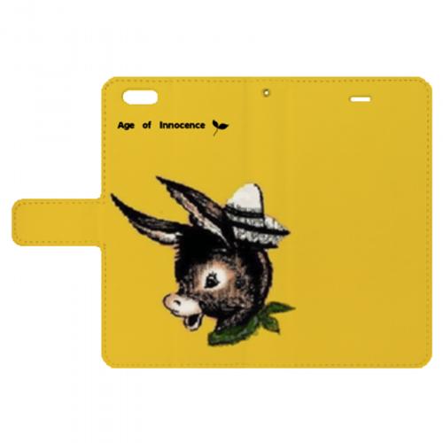 ロバのキュートなイラストをプリントしたiPhone手帳型ケース