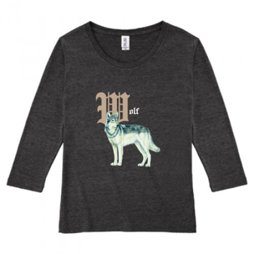 狼イラストの長袖プリントTシャツ