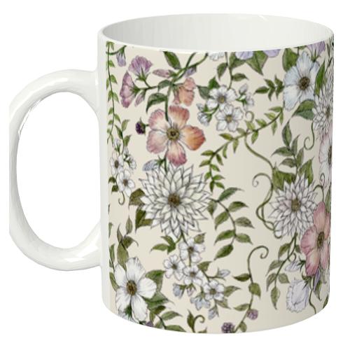 花柄を全面にプリント!全面印刷マグカップ