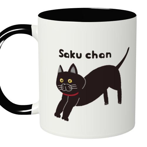 黒猫のイラストをモノクロのマグにプリント