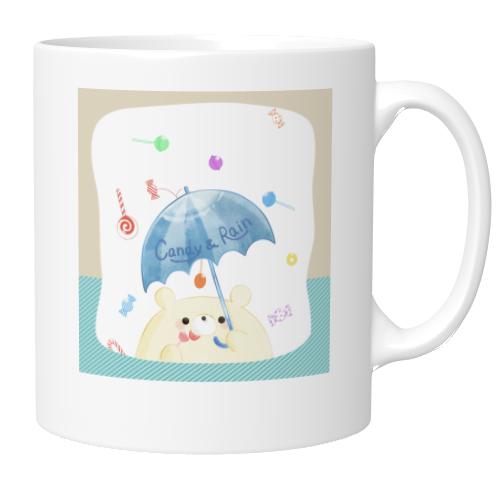 お菓子の雨がプリントされたオリジナルマグカップ