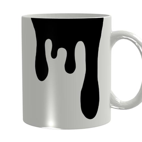 モノクロデザインの全面印刷マグカップ
