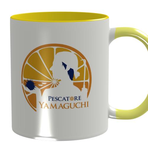 オレンジとウニがデザインされた山口県のマグカップ