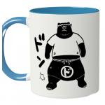 力強いクマのイラストをプリントした2トーンマグカップ