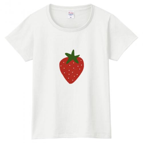 イチゴのワンポイントがかわいいレディースTシャツ