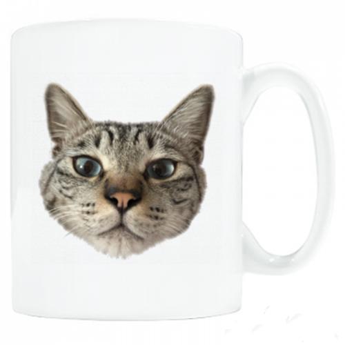 猫の顔写真をプリントしたマグカップ