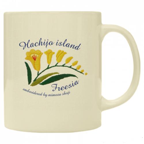 八丈島の花をプリントしたワンポイントマグカップ
