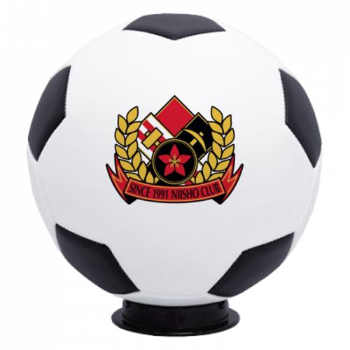 チームのエンブレムをプリントした記念のサッカーボール