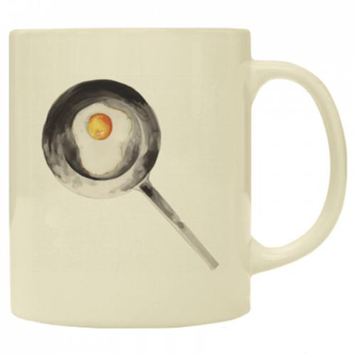 目玉焼きのイラストをプリントしたワンポイントマグカップ