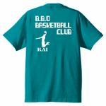 イラストをプリントしたバスケットボールのチームTシャツ