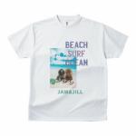 海辺の愛犬が爽やかな写真プリントTシャツ