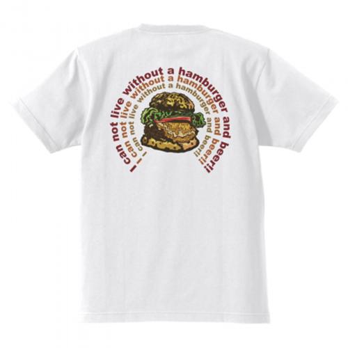 肉汁したたるハンバーガーのイラストプリントTシャツ