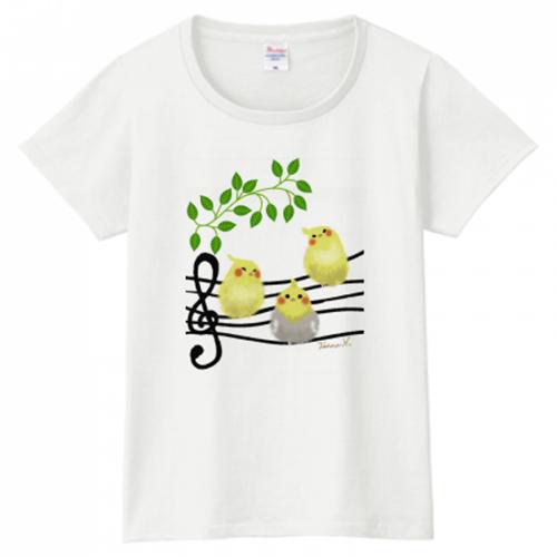 爽やかな小鳥のイラストをプリントしたオリジナルTシャツ