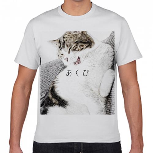 猫の写真を大きくプリントしたオリジナルTシャツ