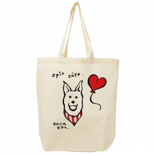キュートな犬のイラストをプリントしたトートバッグ