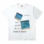 海のイラストをプリントしたオリジナルTシャツ