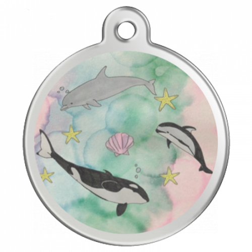 水彩タッチのイラストをプリント!イルカのオリジナルキーホルダー